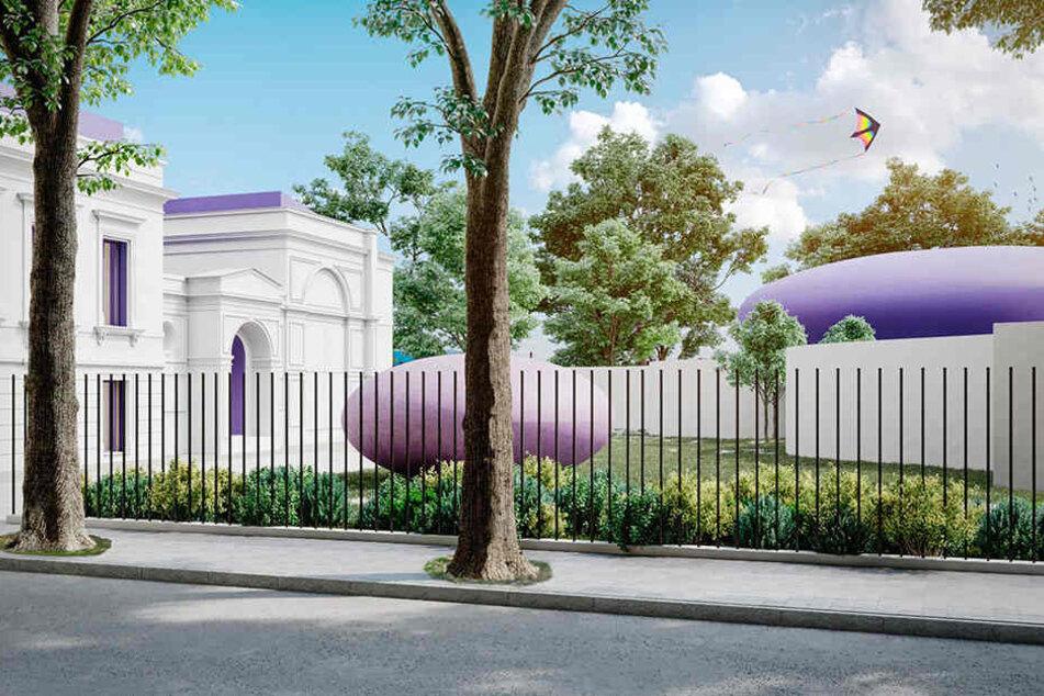 Die vollendete Vision im Ufo-Stil: So sollen Kutscherhaus (links), Pavillon (mittig) und Villa (rechts) aussehen.