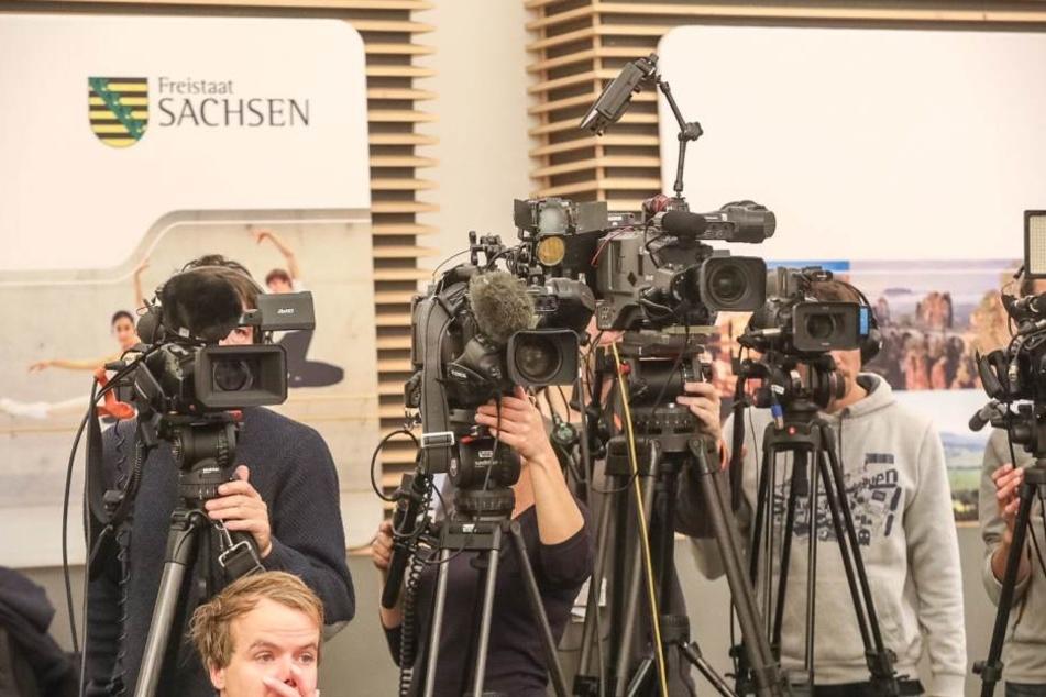 Großes Medieninteresse bei der Pressekonferenz in Dresden zu al-Bakr.