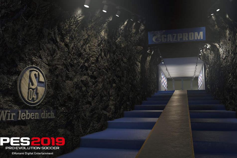 """Täuschend echt: So sieht der Spielertunnel des FC Schalke 04 bei """"PES 2019"""" aus."""