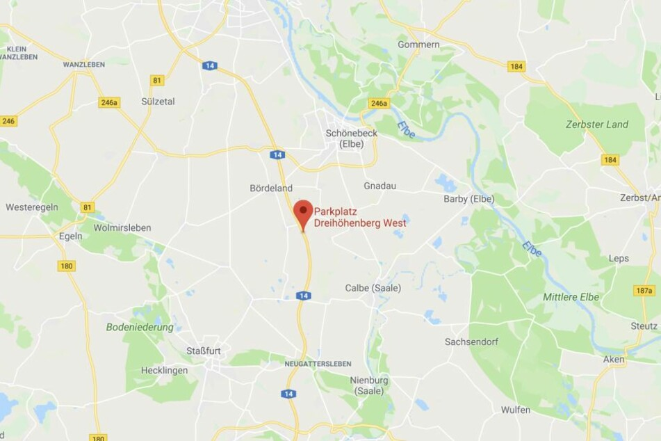 """Der Rastplatz """"Dreihöhenberg"""" liegt zwischen den Anschlussstellen Calbe und Schönebeck südlich von Magdeburg."""
