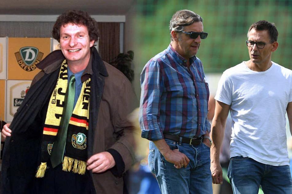 Kölmel in den 90er Jahren bei Dynamo (l.) und die beiden Geschäftsführer von Dynamo, Ralf Minge (Mitte) und Michael Born.