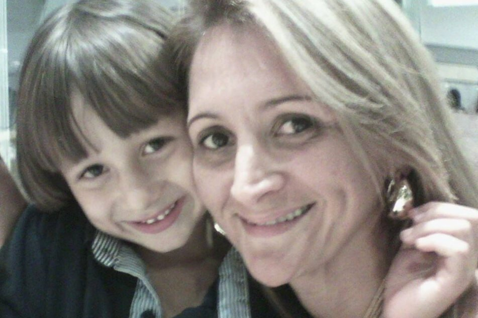 Before his abduction in 2015: Claudia Franco Boudoux with her son.