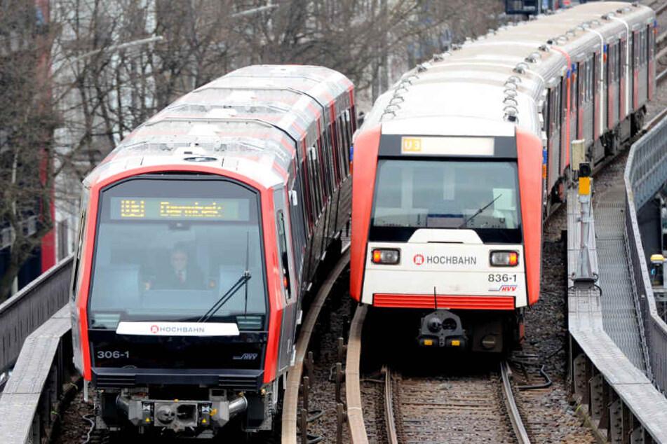 Zwei Bahnen fahren aneinander vorbei.