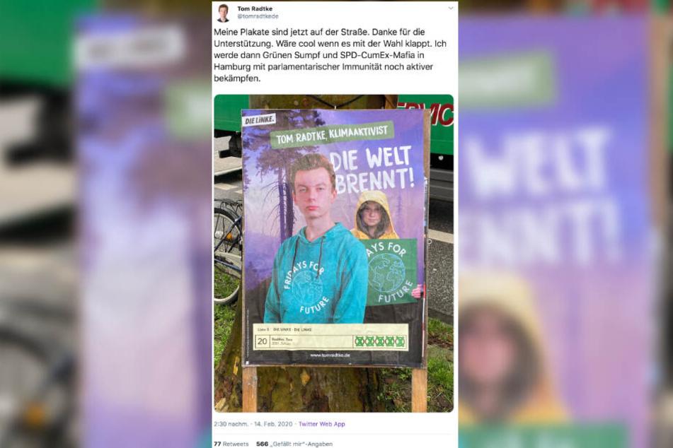 Mit Greta Thunberg auf seinen Plakaten wirbt Tom Radtke um Stimmen bei der Bürgerschaftswahl.