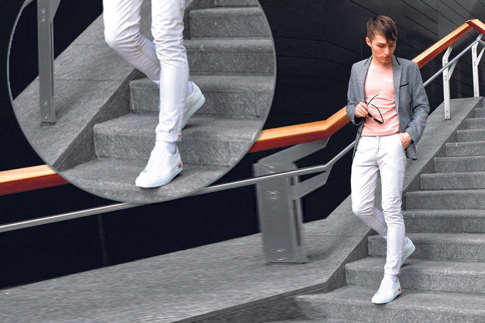 """Blogger """"Mr. Matthew"""" (19) modelt  in Mailand in schicken Leder-Sneakern der italienischen Manufaktur Scarosso."""