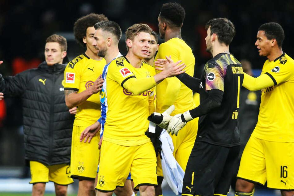Große Erleichterung beim BVB: Die Spieler brachten endlich mal wieder einen Vorsprung über die Zeit.