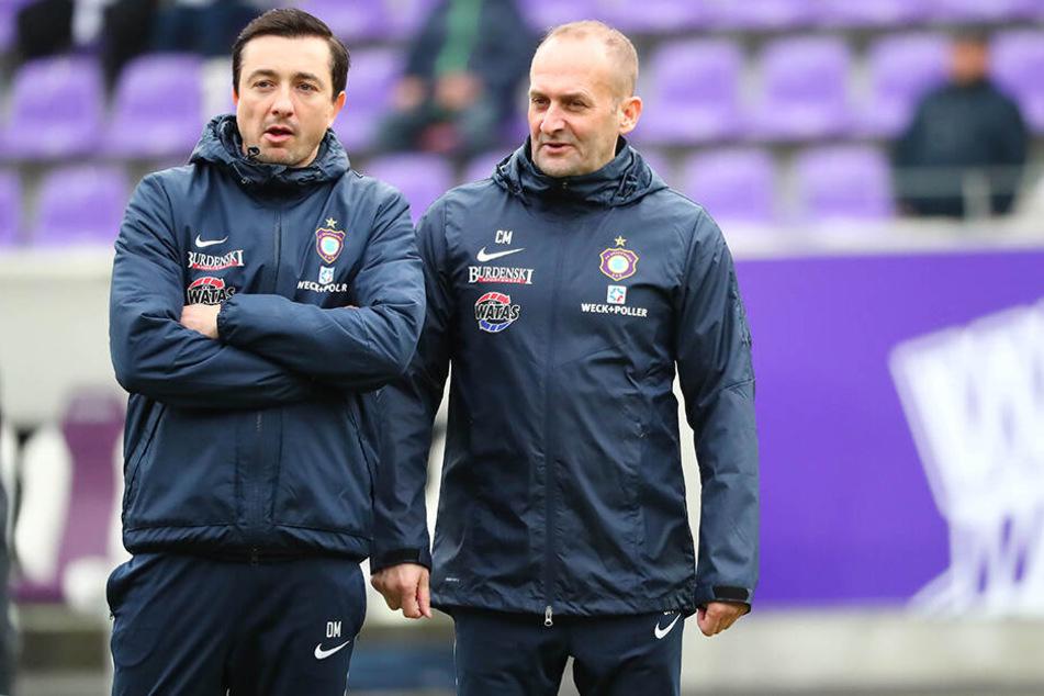 FCE-Trainer Daniel Meyer (l.) wird interimsmäßig von Carsten Müller unterstützt.