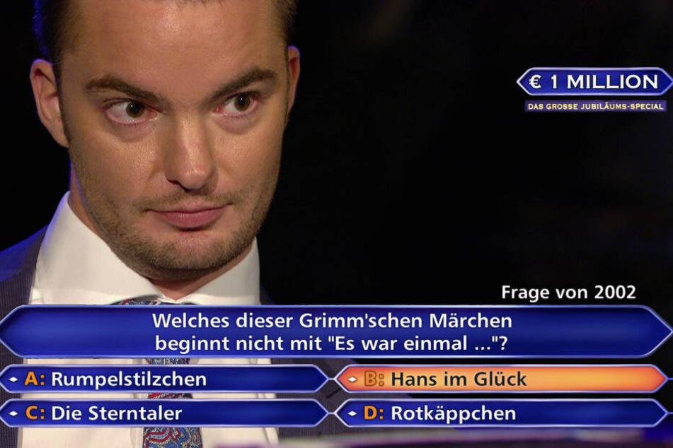 Jan Stroh bekommt die 1-Million-Frage gestellt.