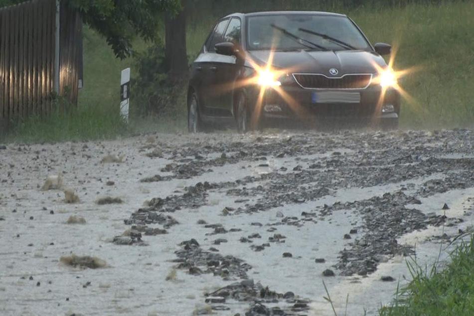 Gewitter und Starkregen: Unwetter wüten über Sachsen