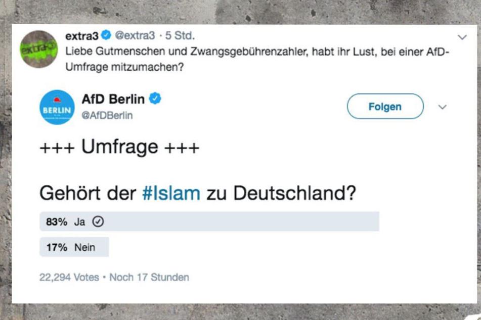 Das NDR-Satiremagazin veröffentlichte auf Twitter den letzten Zwischenstand der Umfrage.