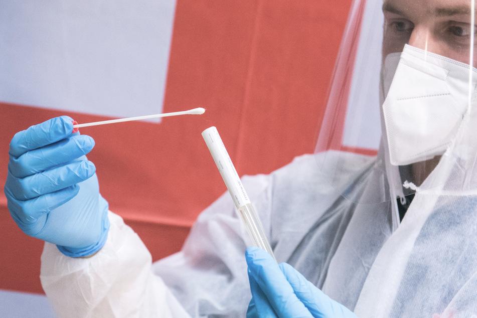 Ein Mitarbeiter des Deutschen Roten Kreuzes (DRK) steht am Hamburger Flughafen während eines Pressetermins in einem Corona-Testzentrum und hält einen Test.