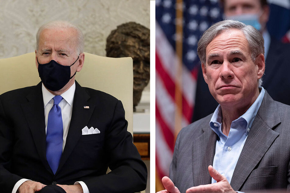 President Biden and Gov. Abbott square off over mask mandates (collage).