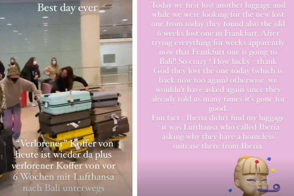 Bonnie Strange berichtet in ihrer Instagram-Story von ihrer unendlichen Koffergeschichte.
