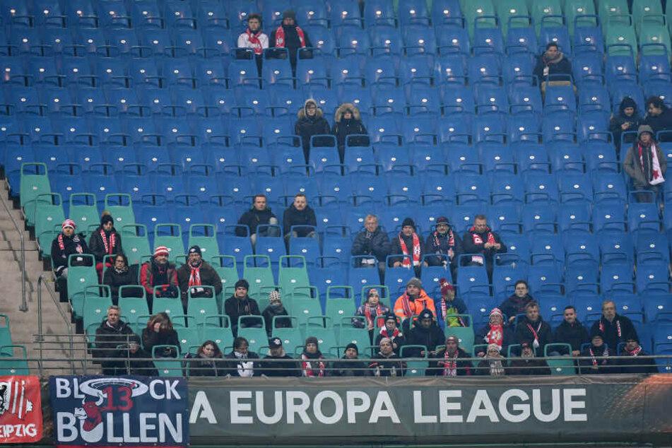 Gegen Zenit St. Petersburg blieben am Donnerstagabend viele Plätze in der Red Bull Arena leer. Nur 19.877 Zuschauer sahen den 2:1-Sieg live.