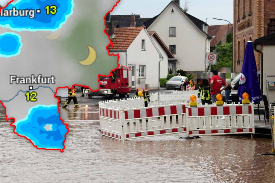 Am Donnerstag sorgten die Regenmassen teilweise für überflutete Straßen.