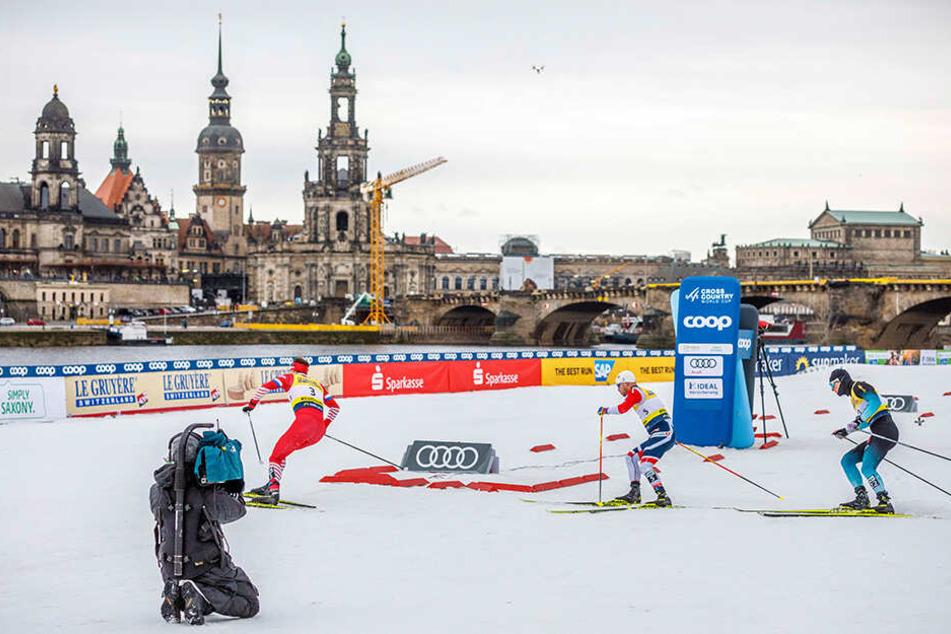 Skilanglauf-Weltcup am Dresdner Elbufer. Den Läufern bot sich ein herrliches Panorama.