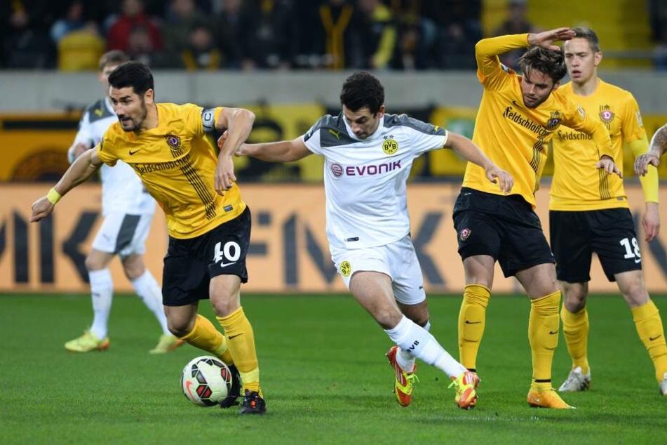 Im November 2014 standen Fiel (links) und Kreuzer (3.v.l.) in der Drittliga-Partie gegen Borussia Dortmund II noch gemeinsam auf dem Rasen.