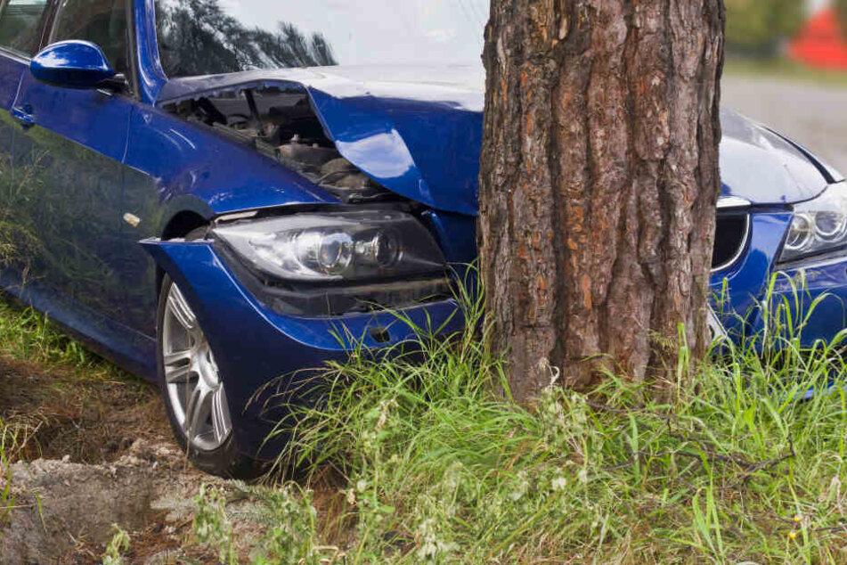 Ein junger Mann ist mit seinem Auto in Brandenburg gegen einen Baum gekracht (Symbolbild).