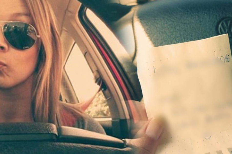Zettel an der Windschutzscheibe macht eine junge Frau sprachlos