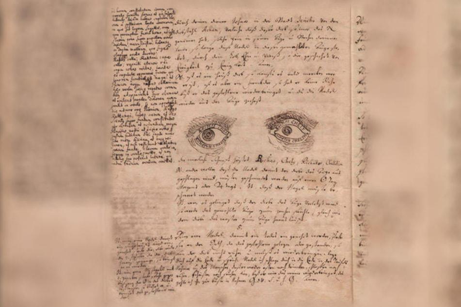 """Diese Handschrift beschreibt """"Geheimnüsse, seine Sachen vor Dieben zu verwahren, Diebe zu bannen, dass sie den Diebstahl müssen wiederbringen, auch solche auf unterschiedene Art zu peinigen und zu lädiren"""". (alles Originalschreibweise)."""