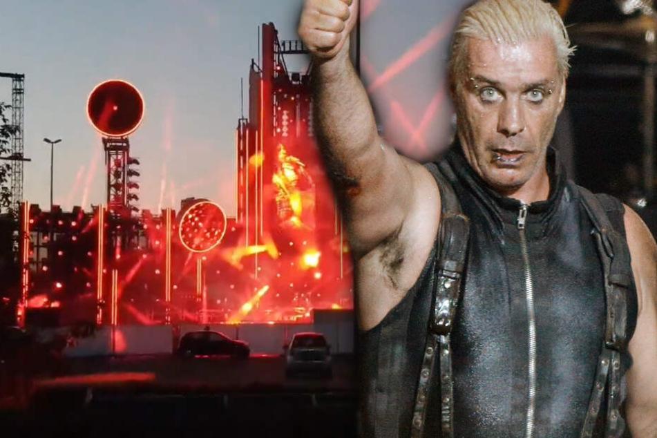 Rammstein testen die Licht-Show für ihre bevorstehende Tournee ausgiebig. (Bildmontage)