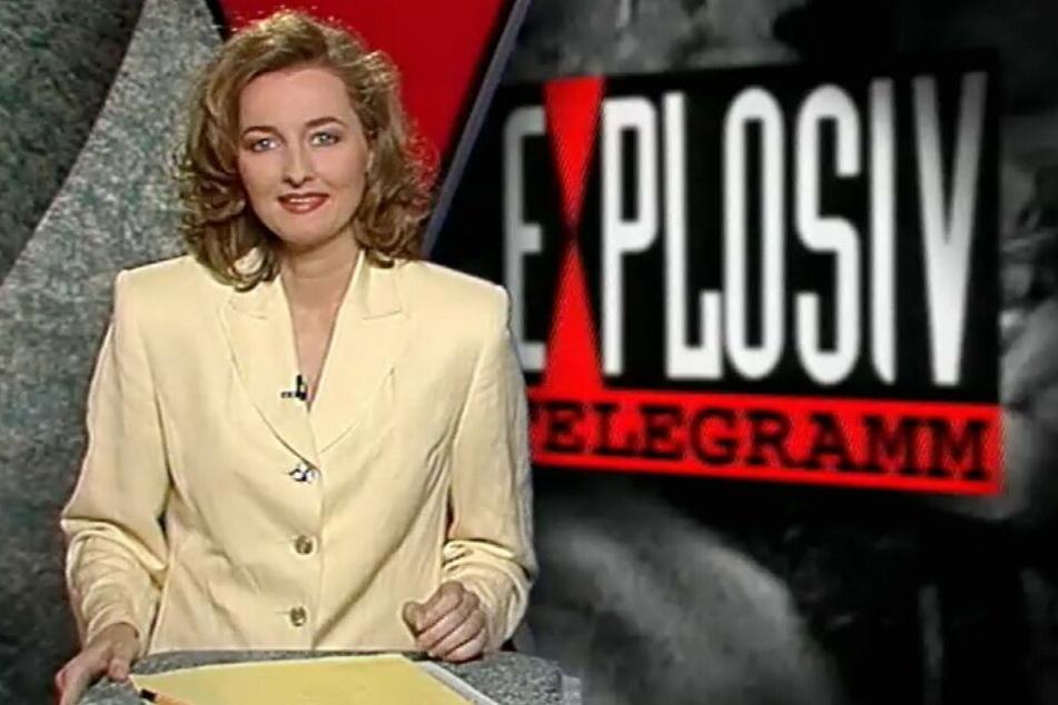 """Frauke Ludowig am 2. Mai 1994 bei ihrem Debüt bei """"EXCLUSIV - Das Starmagazin"""", was anfangs noch """"Explosiv - Telegramm"""" hieß."""