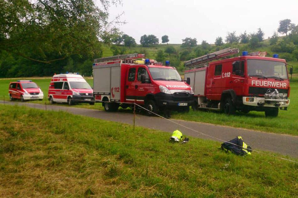 Die Feuerwehren von Niederlommatzsch und Zehren eilten der Kuh zu Hilfe, retteten sie aus dem Wasser.