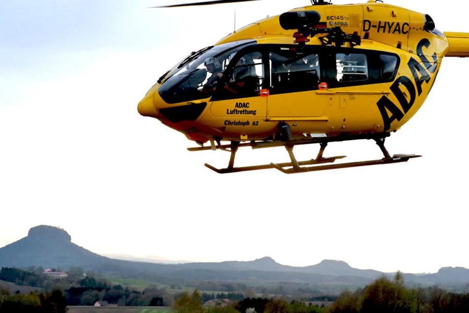 Der Rettungshubschrauber Chtristoph 61 brachte einen Patienten ins Krankenhaus-Dresden-Friedrichstadt.