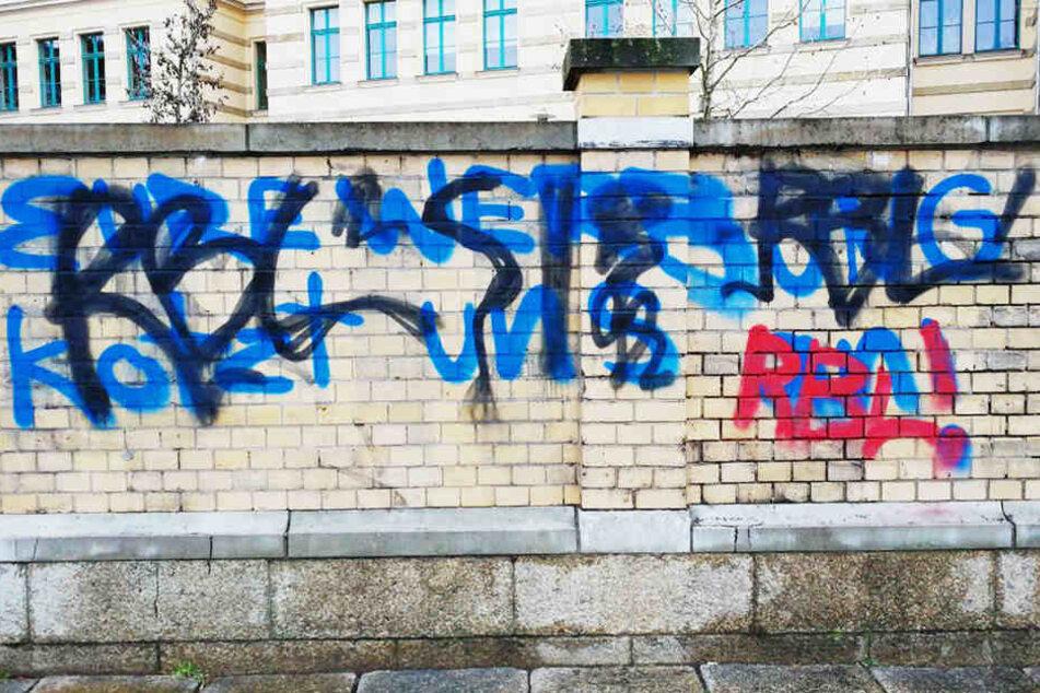 """Eure Werbung kotzt uns an"", sprühten die Schmierfinke an die Mauer der Sport-Oberschule."