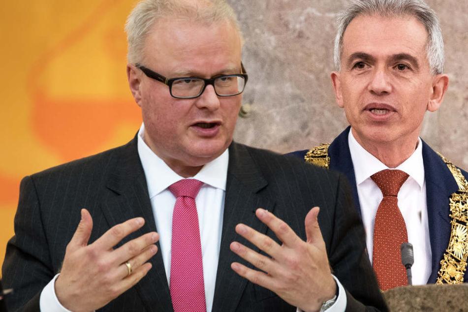 Thomas Schäfer (l, CDU) hat die Attacke von Peter Feldmann (SPD) erwidert.