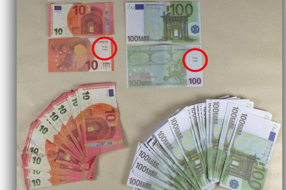 """Nur der kleine Hinweis """"Prop Copy"""" zeigt, dass es sich um Falschgeld handelt."""