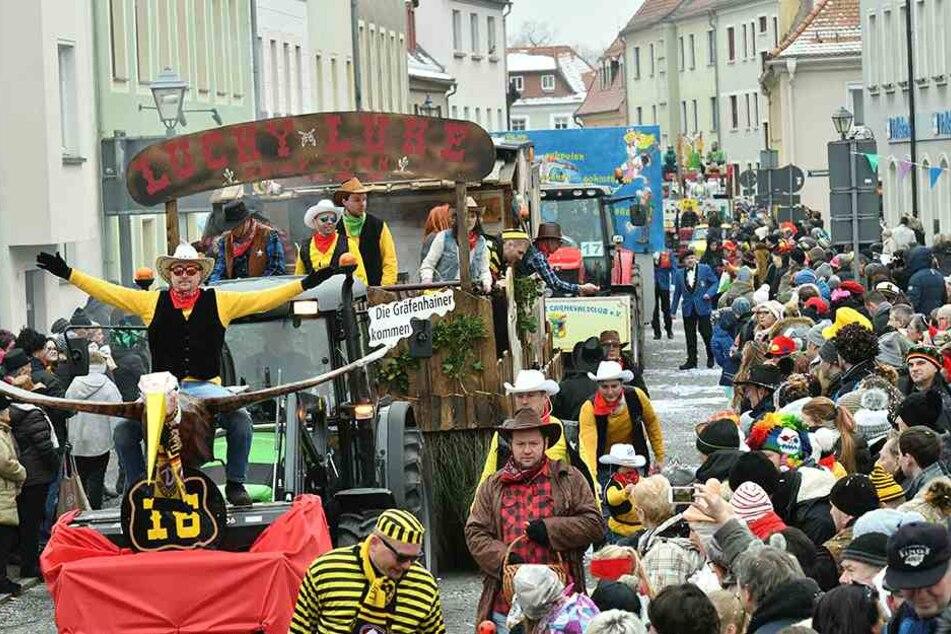 """Schneller als der eigene Schatten: Unter dem Motto """"Lucky Luke"""" war auch der Karnevalsclub aus Gräfenhain dabei."""