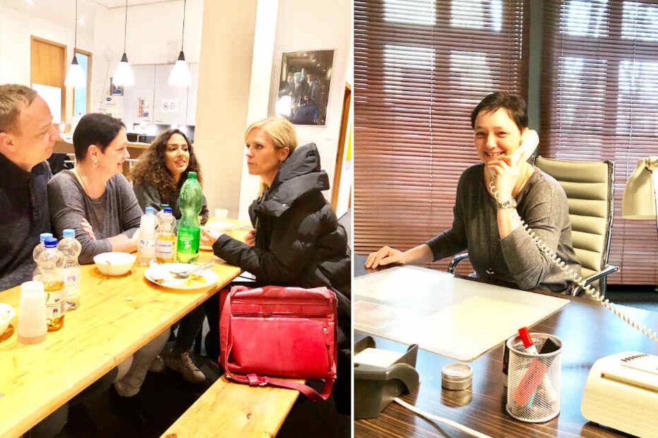 Li.: Beim gemeinsamen Essen konnte die Gewinnerin den Schauspielern Löcher in den Bauch fragen. Re.: Uta Lauer nahm das Set der TV-Serie unter die Lupe.