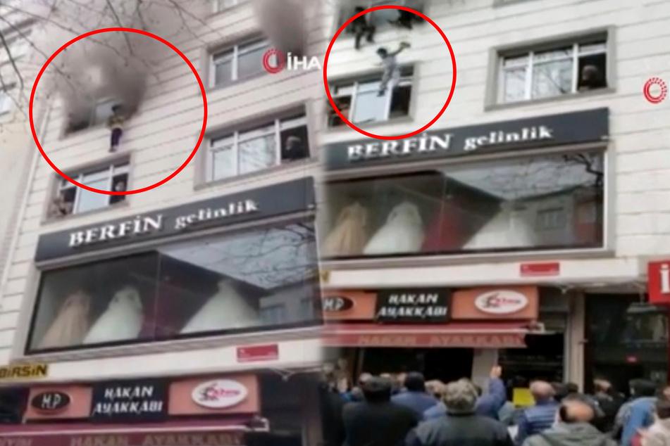 Wohnhaus in Flammen: Mutter wirft ihre Kinder aus dem dritten Stock!