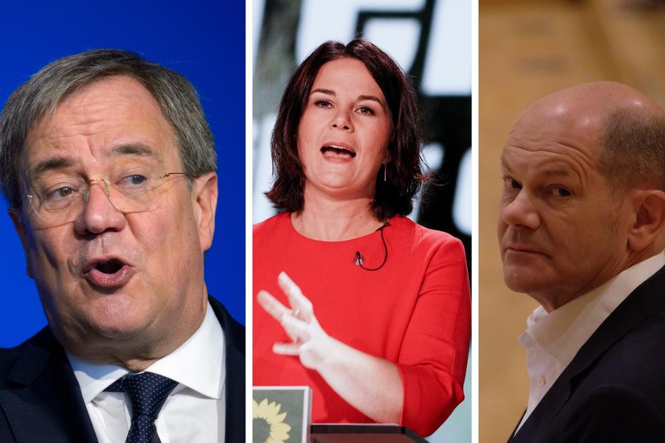 Müssen ebenfalls Hate im Netz ertragen: die Kanzlerkandidaten Armin Laschet (60, CDU, l.), Annalena Baerbock (40, Grüne) und Olaf Scholz (62, SPD).