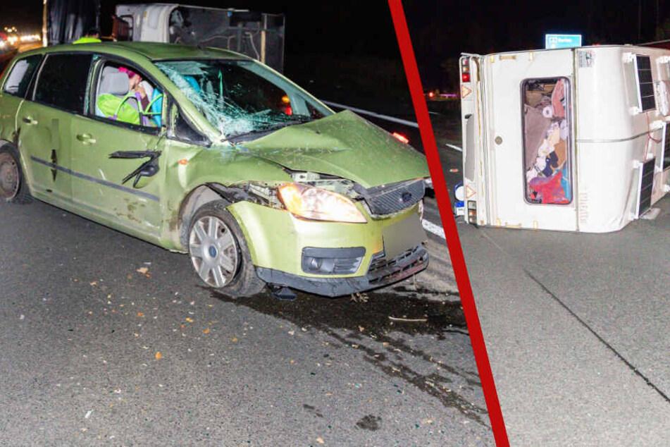 Schwerer Unfall auf der A4: Wohnwagen kippt bei Ohorn um