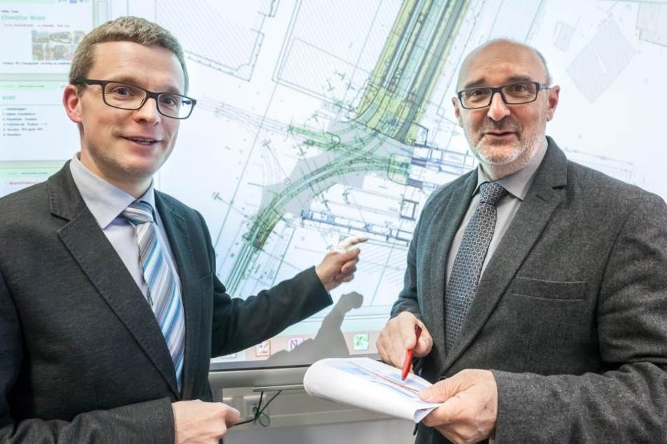 Mathias Korda (38, l.) und Harald Neuhaus (59) vom VMS präsentierten gestern  die Umbaupläne.