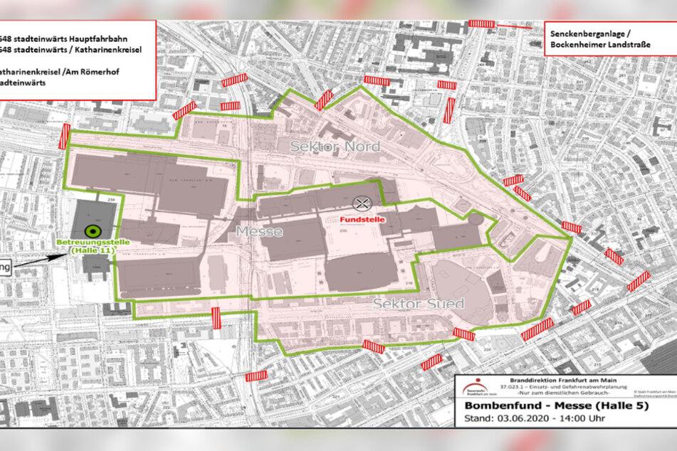 Die Karte der Frankfurter Polizei mit allen Sperrungen während der Bomben-Entschärfung am Freitag.