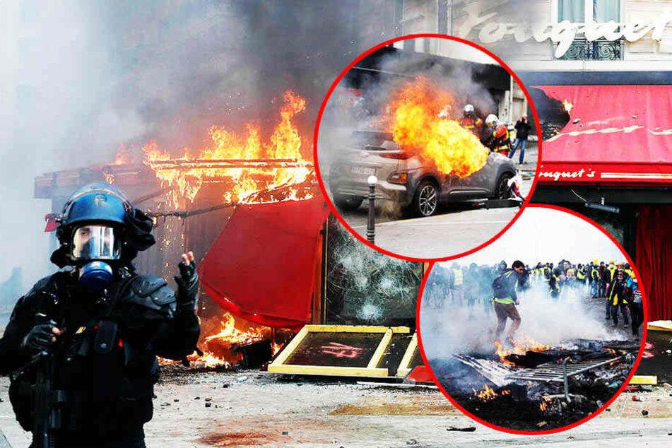 Wohnhaus in Brand gesteckt, Läden verwüstet: Gewaltausbrüche bei Protesten von Gelbwesten