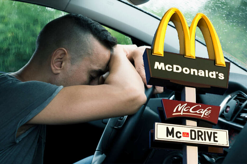 Ein Mann schlief in Geseke bei der Bestellung im McDrive ein. (Bildmontage)