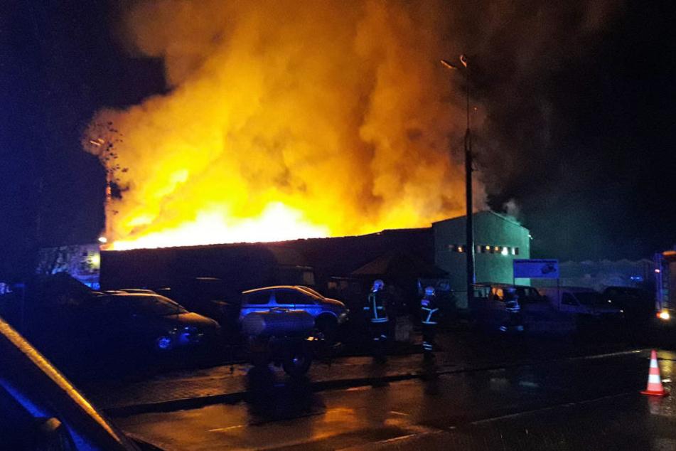 Meterhohe Flammen ragen aus der Lagerhalle.