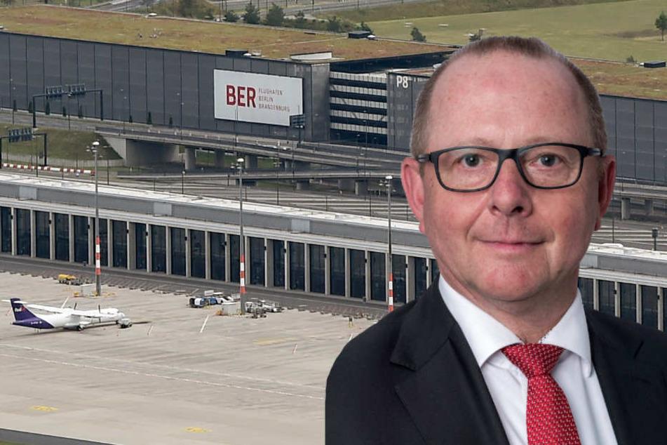 Der neue Betriebsleiter Patrick Muller (57) soll dafür sorgen, dass die Flieger am Flughafen BER ab Oktober 2020 auch abheben. (Bildmontage)