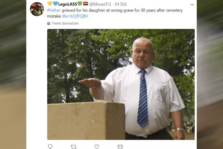 Auf Twitter kursieren Fotos des trauernden Vaters.