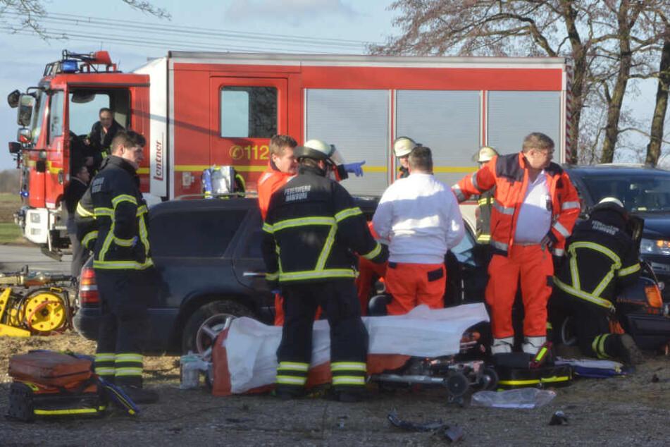 Retter der Feuerwehr bergen die Verletzten nach dem Unfall in Ochsenwerder.