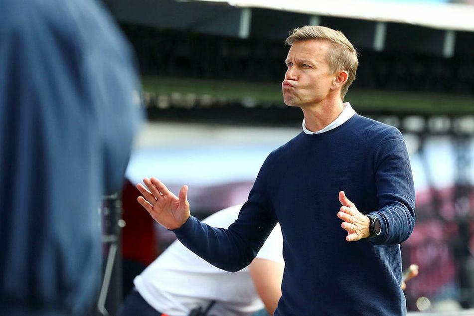 Endlich wieder Grund zur Freude hat RB-Trainer Jesse Marsch (47) nach dem deutlichen 6:0 über Hertha BSC.