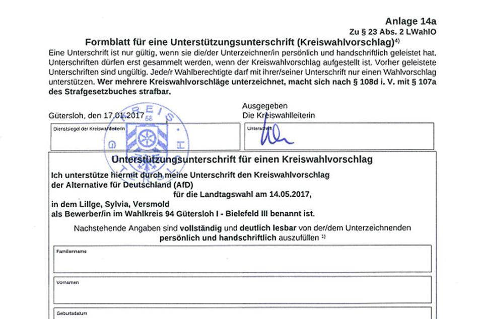 Mit dieser Unterschriftenliste zog Sylvia Lillge durch den Kreis Gütersloh, um Unterstützer für ihre Kandidatur für den Landtag zu finden.