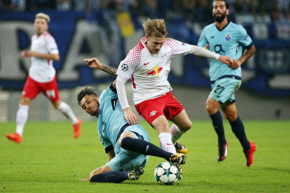 Emil Forsberg erzielte seinen Treffer für RB Leipzig in der Champions League.