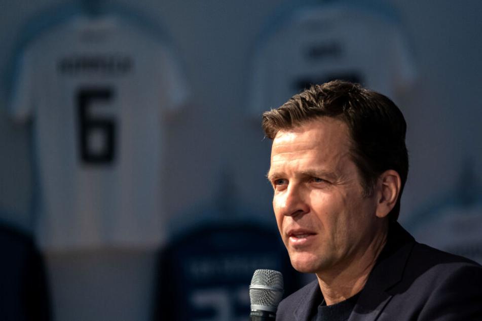 DFB-Direktor Oliver Bierhoffspricht während einer Pressekonferenz zur Nationalmannschaft.