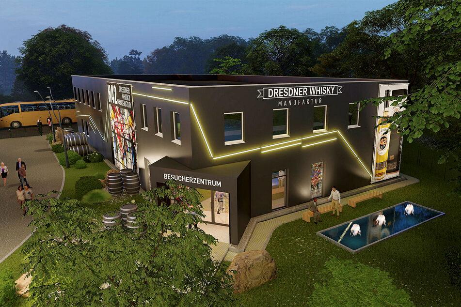 Die Vision: Der Außenbereich der Whisky-Manufaktur soll mit großen Plakatwänden und einem Beleuchtungssystem weithin sichtbar sein (Visualisierung).