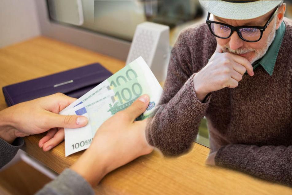 Der Rentner war schon bei der Bank, wollte das Geld abheben. (Fotomontage)
